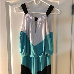 Teal, White & Black Sleeveless Maxi Dress